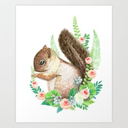 squirrel with flowers Art Print
