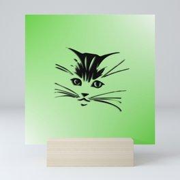 Green Cat Face Mini Art Print