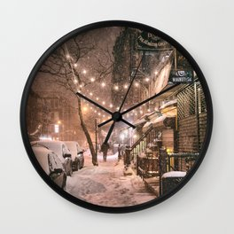 Snow - New York City - East Village Wall Clock