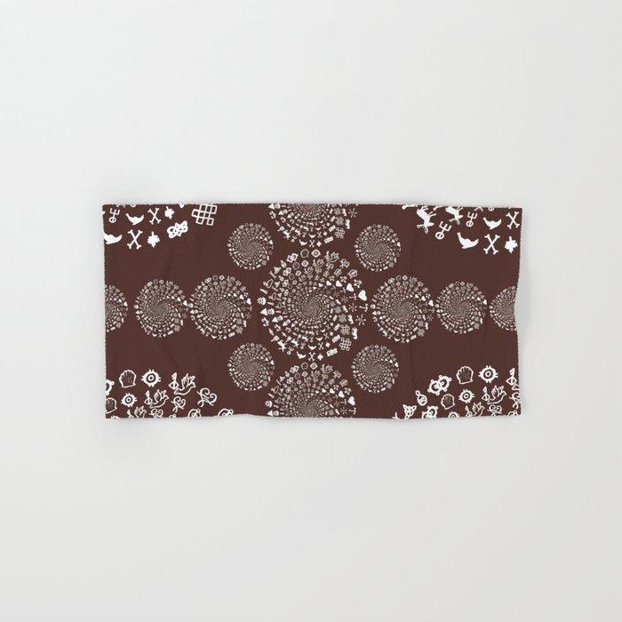 For The Love Of Chocolate Love Symbols Mandala Hand Bath Towel By