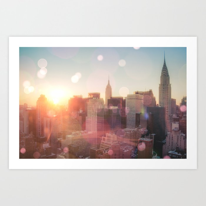 New York City Skyline Love Art Print