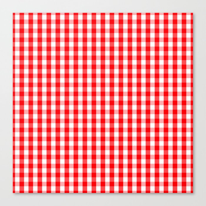 Large Christmas Red And White Gingham Check Plaid Canvas Print By Podartist