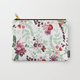 Abstract red pastel green pink country floral pattern Carry-All Pouch