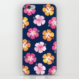 CANDY COLORED HIBISCUS on NAVY iPhone Skin