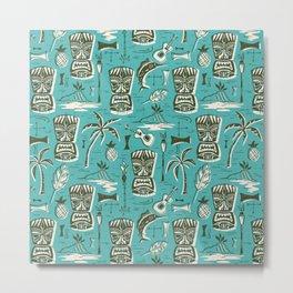 Tropical Tiki - Aqua Metal Print