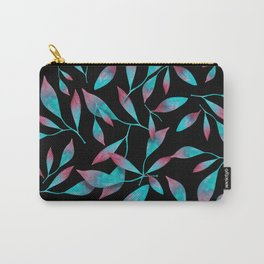 Turquoise and Pink Leaves pattern Carry-All Pouch