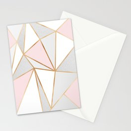 Pink, Grey & Gold Geo Stationery Cards