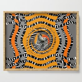 Zebra Tribal Sunset Serving Tray