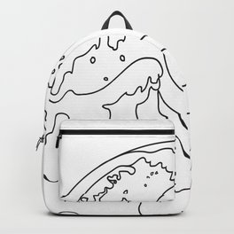 Minimal Line Art Ocean Waves Backpack