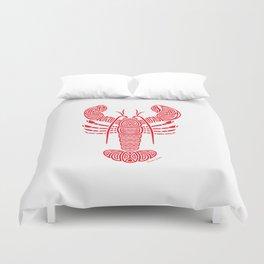 Tribal Maine Lobster on White Duvet Cover