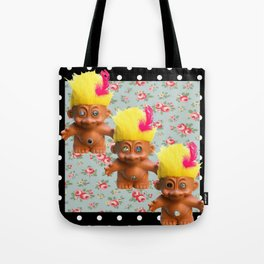 Mentalembellisher Mad-Eyed Troll Triplets Flowers & Polka Dots Tote Bag
