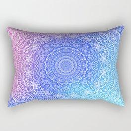 Beautiful colorful rainbow mandala Sophisticated ornament pink and violet cyan Rectangular Pillow