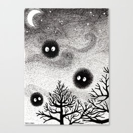 Kuro Gremlin Puffs Canvas Print