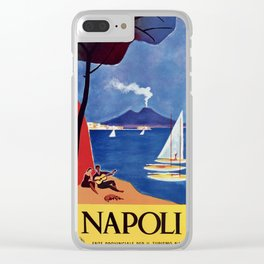 Napels Italy retro vintage travel ad Clear iPhone Case