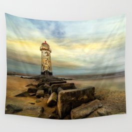 Lighthouse Sunset Wall Tapestry