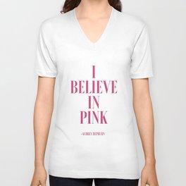 I Believe in Pink, Audrey Hepburn Quote, Audrey Hepburn Print,Bedroom Decor, Teen Unisex V-Neck