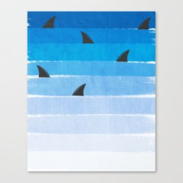 Sharks - shark week trendy black and white minimal kids pattern print ombre blue ocean surfing  Canvas Print