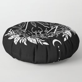 Scarab Queen // B&W 02 Floor Pillow