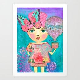 Be Free Mixed Media Whimsical Girl Art Print