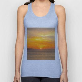 Sunset Coast with Orange Sun and Birds Unisex Tank Top
