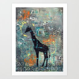 majestic series: this and that giraffe Art Print
