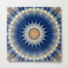 Mandala blue created by Tutti Metal Print