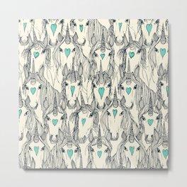 unicorn love indigo mint pearl Metal Print