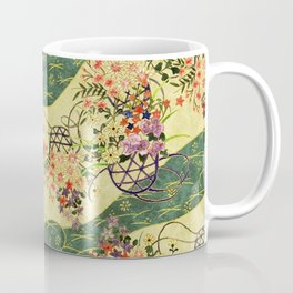Vintage green and gold oriental floral pattern Coffee Mug