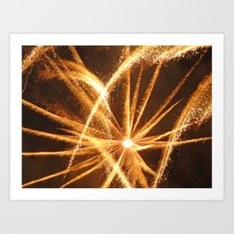gold feather fireworks Art Print
