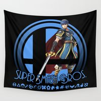super smash bros Wall Tapestries featuring Marth - Super Smash Bros. by Donkey Inferno