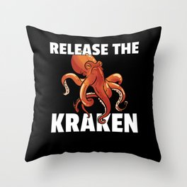 Octopus Squid Kraken Fish Throw Pillow