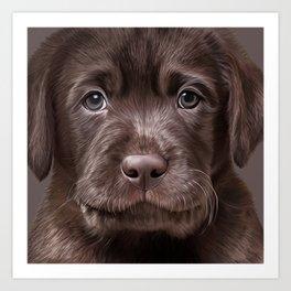 Drawing puppy Labrador Art Print
