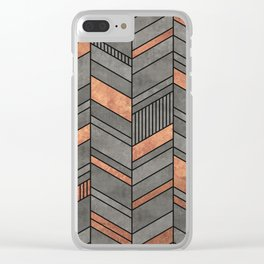 Abstract Chevron Pattern - Concrete and Copper Clear iPhone Case