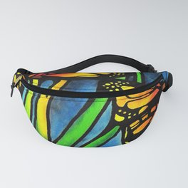 Beautiful Monarch Butterflies Fluttering Over Palm Fronds by annmariescreations Fanny Pack