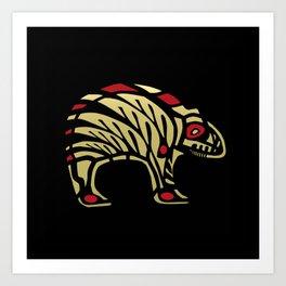 Tribal Black and Gold Bear Symbol Art Print