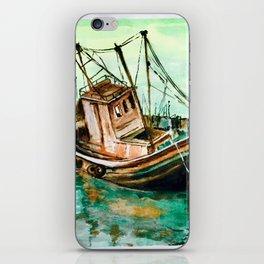 Boat on Seashore iPhone Skin