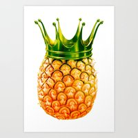 pinapple Art Prints featuring kingapple by sustici