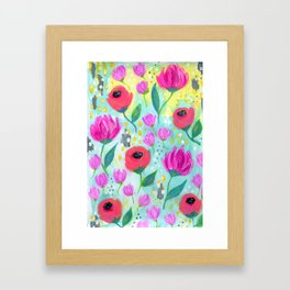 Pink and Coral Flowers, Floral Painting Pattern, Girl's Room Decor, Interior Design Framed Art Print