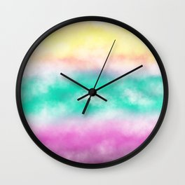 Fruity Cloudscape - grape purple, aqua green & citrus yellow skyscape Wall Clock