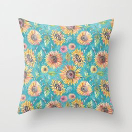 Sunflowers on Turquoise Throw Pillow