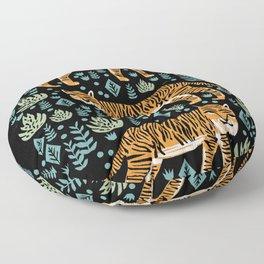 Tiger forest tropical tigers screen print art by andrea lauren Floor Pillow