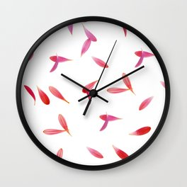 Red Rose Leaves Wall Clock
