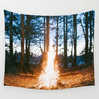 camp Wall Tapestries featuring camp fire by Casey N. Garner