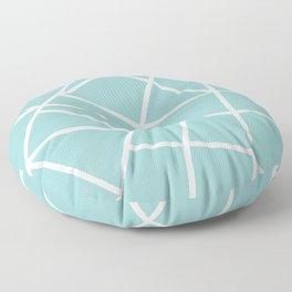 Light grayish cyanide geometric motif with lines Floor Pillow