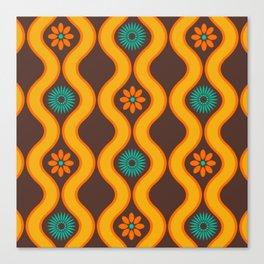 1970's Design Brown Orange Blue Canvas Print