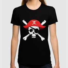 Pirate Skull and Crossbones with Red Hat and Eye Patch T-shirt