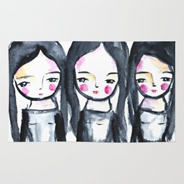 3 girls black and white Rug