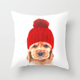 Cocker spaniel puppy with hat Throw Pillow