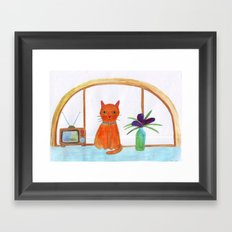 cat in a apartment  Framed Art Print