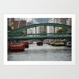 Bridge and Canal, Tokyo, Japan Art Print